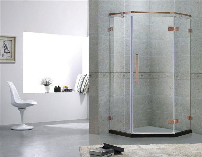 Red Bronze Frameless Swing Shower Enclosures With Stainless Steel Hinge and Support Bar
