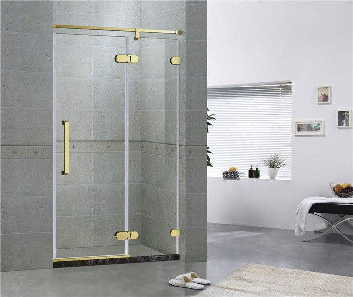 Golden Bronze Inline Frameless Corner Shower Doors 10mm Tempered Glass CE / SGCC