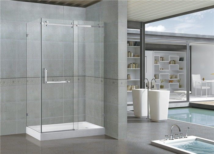 Customized  Rectangle Sliding Shower Doors 8 / 10 MM Clear / Printed Glass SGCC Certification