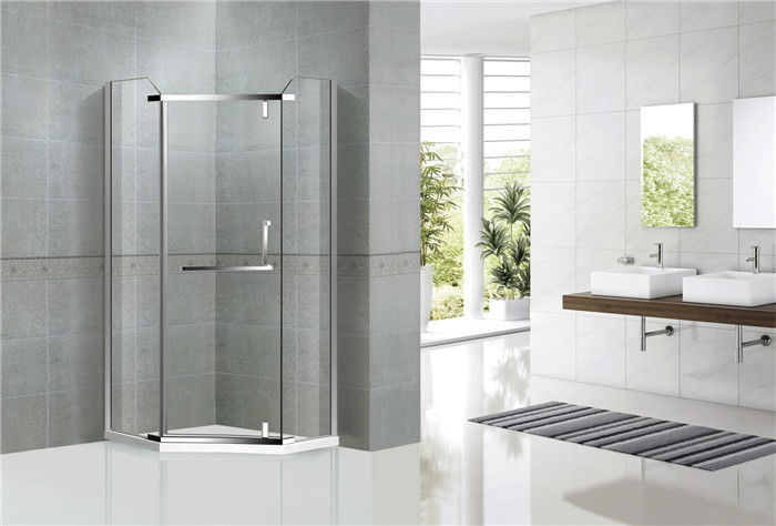 Diamond Shape Stainless Steel Shower Enclosure Pivot Door For Hotel / Home