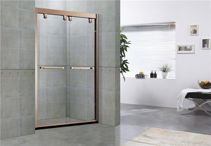 Rose Gold Full Stainless Steel Glass Shower Enclosures Sliding With Double Handles