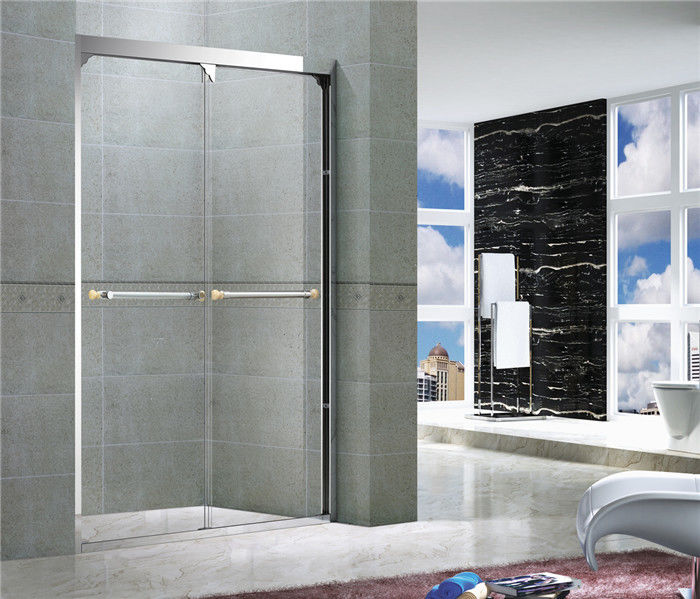 Mirror Color Double Sliding Glass Shower Screens With Double Long Hole Distance Handles For Hotel