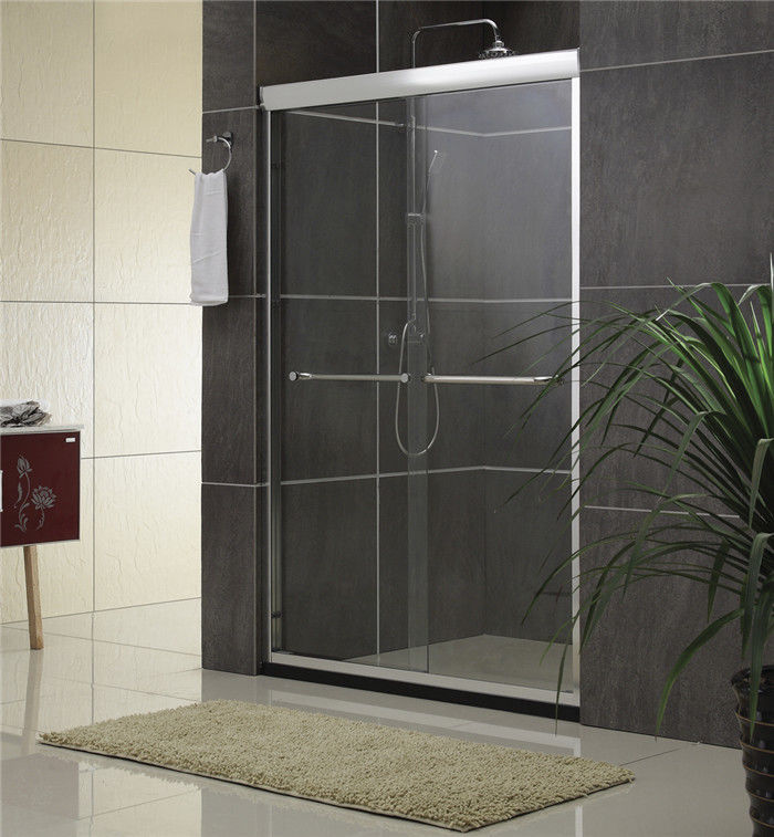 Sand Silver Glass Shower Screen Aluminum Alloy Inline Double Sliding CE Certification
