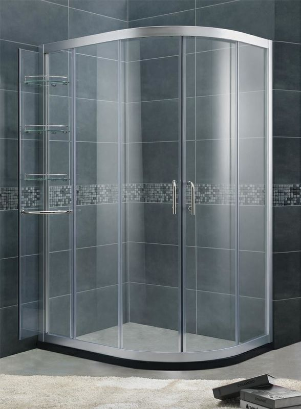 With Chromed Aluminum Shower Door Movable 6 / 8 mm Tempered Glass For Home / Hotel