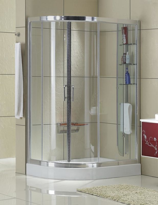 Matte Sliver Profiles D Shaped Shower Enclosure Clear Tempered Glass Aluminum Alloy
