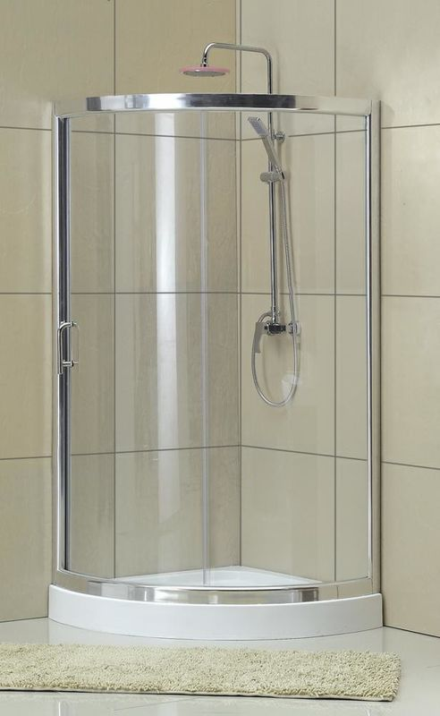 All Arc Matte Sliver D Shaped Shower Enclosure Clear Tempered Glass Aluminum Alloy