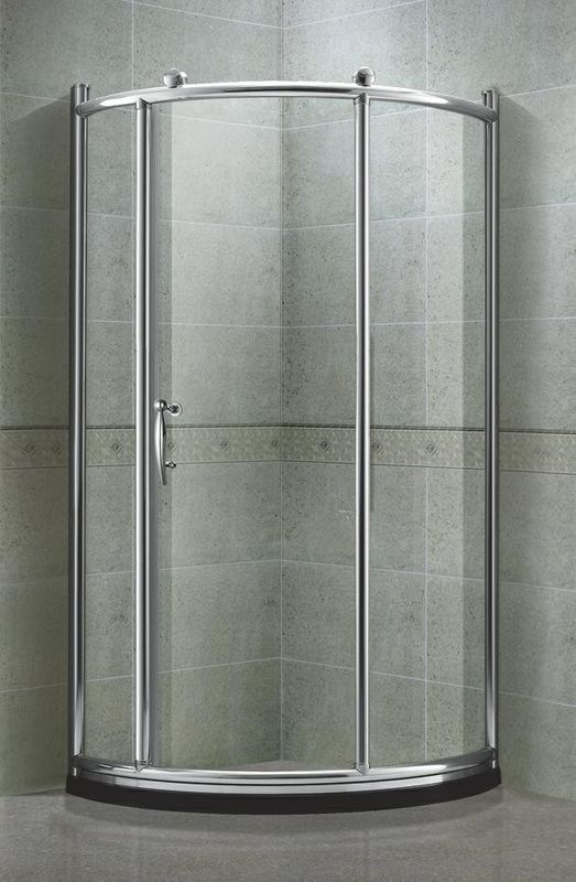 Chromed Aluminum Round Shower Screens Tempered Glass With Big Brass Wheel