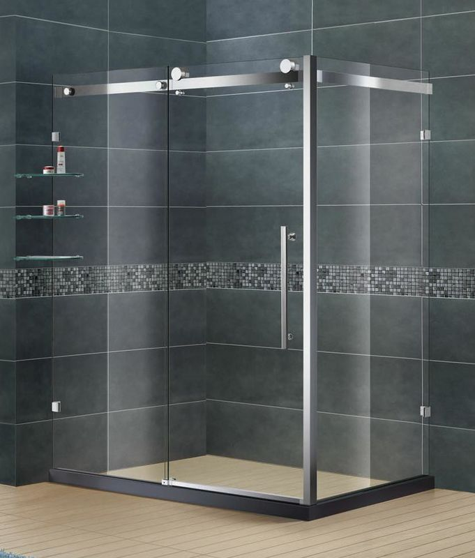 Frameless Stainless Steel Bathroom Shower Enclosures Clear Tempered Glass SGCC Certification
