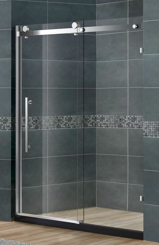 Frameless Sliding Glass Shower Doors Nano Tempered Clear /  Frosted CE Certification