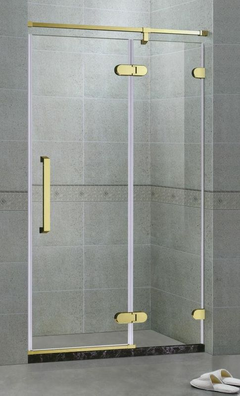 Rose Golden Bronze Inline Frameless Hinged Shower Door With 10MM Tempered Glass